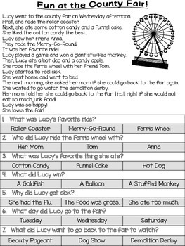 County Fair Reading Passages & Comprehension Questions