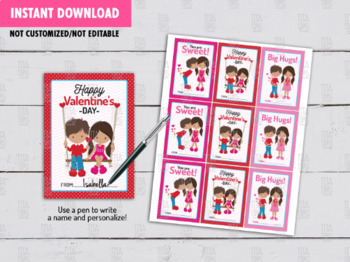 Couple Kids Valentine's Day Card DIY Printable, Boy and Girl Exchange Tag Ideas