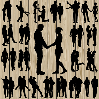 22 Couple silhouette Vector, SVG, DXF, PNG, EPS, Engagment, Love, Marriage.