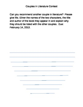 Couples In Literature Contest Template
