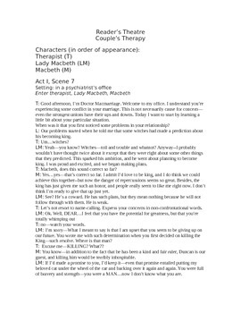 Couple's Therapy--Macbeth Act I, Scene 7
