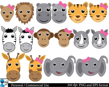 Couples of safari animals ClipArt Personal, Commercial Use