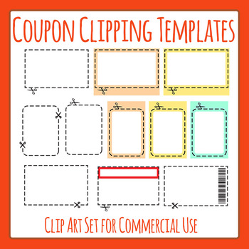 Coupon Clipping Templates Clip Art Set for Commercial Use