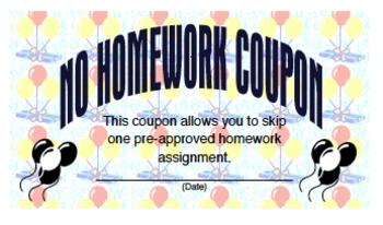 Coupon for No Homework