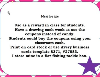 Coupons for your classroom Token Economy
