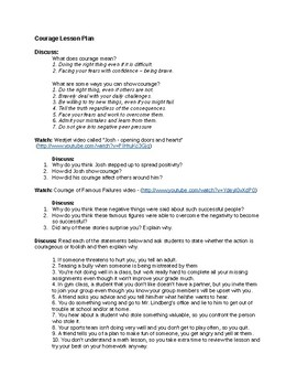 Courage Lesson Plan with Assignment