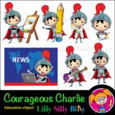 Courageous Charlie - B/W & Color clipart, illustration {Li