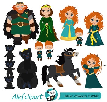Courageous Princess Digital Clipart / Brave Princess ( Merida inspired)