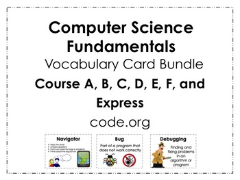 Course A-F and Express code.org Vocabulary Poster Bundle