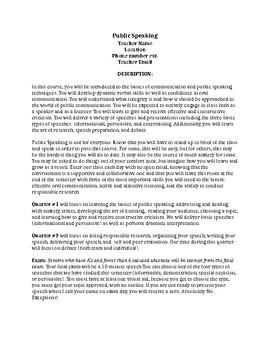 Course Description Template for Public Speaking