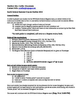 Course Outline (syllabus) for summer school