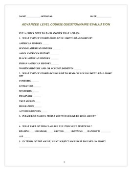 Course Questionnaire Evaluation