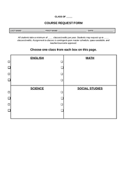 Course Selection Form Template