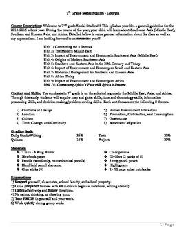 Course Syllabus - Georgia 7th Grade SS