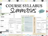 Course Syllabus One Page Summary: Editable Template!