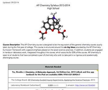 Course Syllabus Template Flipped Classrooms for AP Chemist