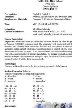 Course Syllabus for English 11