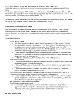 Course outline and Letter to Parents for Science 10