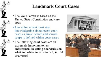 Court Cases Notes for Law Enforcement I