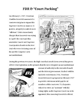Court Packing Cartoon Activity FDR Abusing Power Special Ed
