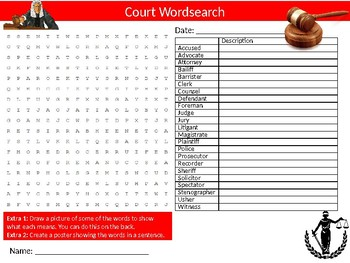 Court Wordsearch Sheet Starter Activity Keywords Law & Justice System