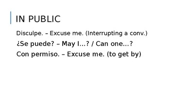 Courtesy Phrases for Middle School Spanish - PowerPoint Presentation