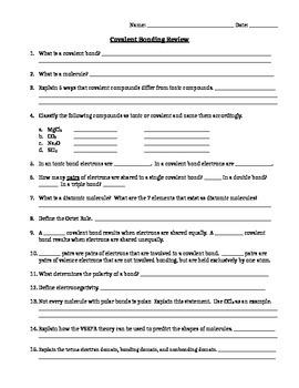 Bonding Homework Review Worksheet- Middle School Chemistry