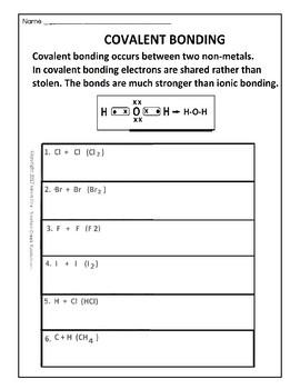 Covalent Bond Worksheet | Teachers Pay Teachers
