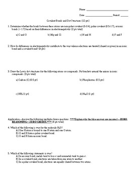 Covalent Bonds and Lewis Dot Structure Worksheet