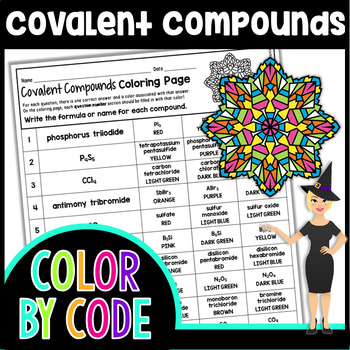 Covalent Compounds Coloring Page - Naming & Writing Formulas