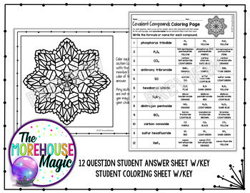 covalent compounds coloring page naming writing formulas tpt. Black Bedroom Furniture Sets. Home Design Ideas