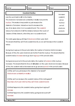 Covalent Radius Homework Review Worksheet, Middle and High School Chemistry