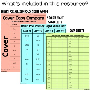 Cover Copy Compare Intervention for Dolch Sight Words