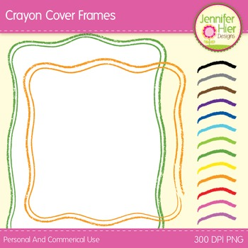 Cover Frames: Square and Rectangle Crayon Styled Clip Art Frames in 13 Colors