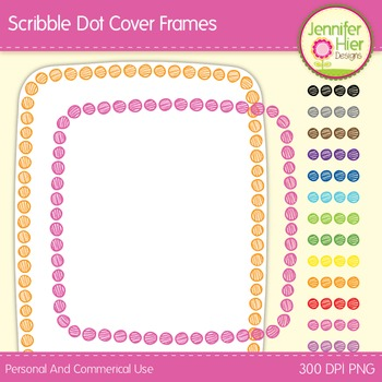 Cover Frames: Square and Rectangle Scribble Dot Clip Art F
