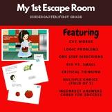 kindergarten First grade \ Emergent Reader Junior escape room Ela, reading, logi