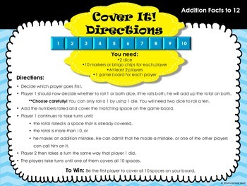 Cover It: Addition Facts Practice Game