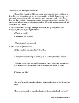 Cover Letter Activity