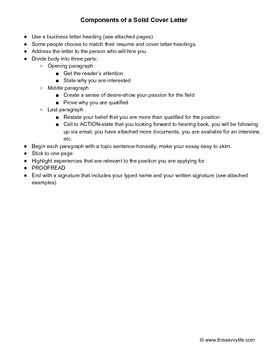 Cover Letter Assignment Sheet