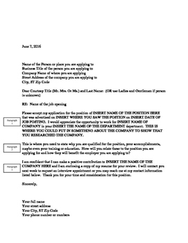 Cover Letter / Letter of Application Template