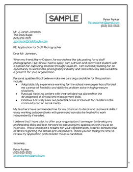 Cover Letter Mini-Unit - Special Education High School (Print/Google)