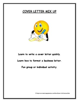 Cover Letter Mix Up Activity By Career And Success Skills Tpt