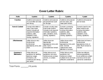 Resume Cover Letter Rubric Primary Photos Awesome