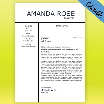 Free Editable Teacher Cover Letter Template, Job Hunting