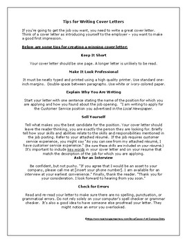 Cover Letter Tips & Rubric
