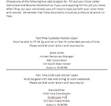Cover Letter and Resume Worksheets