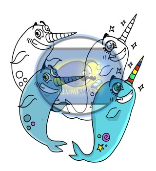 Cover Mascots-Zany Narwhals! (4 pc. Clip-Art BW and Color!)