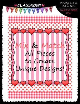 Cover Page Kit (Feb.) - Valentine Clip Art - CU Clip Art, B&W & 8.5x11 Papers