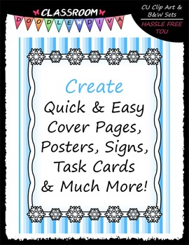 Cover Page Kit (Jan.) - Snowflakes Clip Art - CU Clip Art, B&W & 8.5x11 Papers