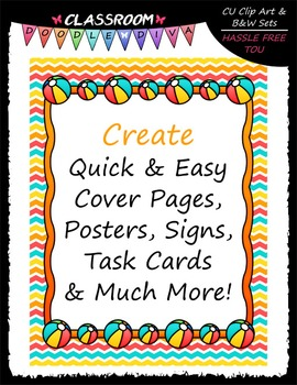 Cover Page Kit (June) - Beach Ball Clip Art - CU Clip Art, B&W & 8.5x11 Papers